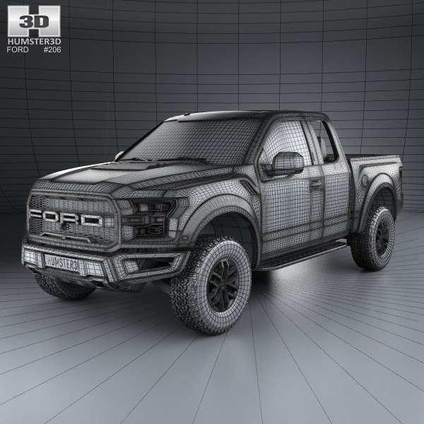 Ford F-150 Super Cab Raptor 2017 3D model - Humster3D