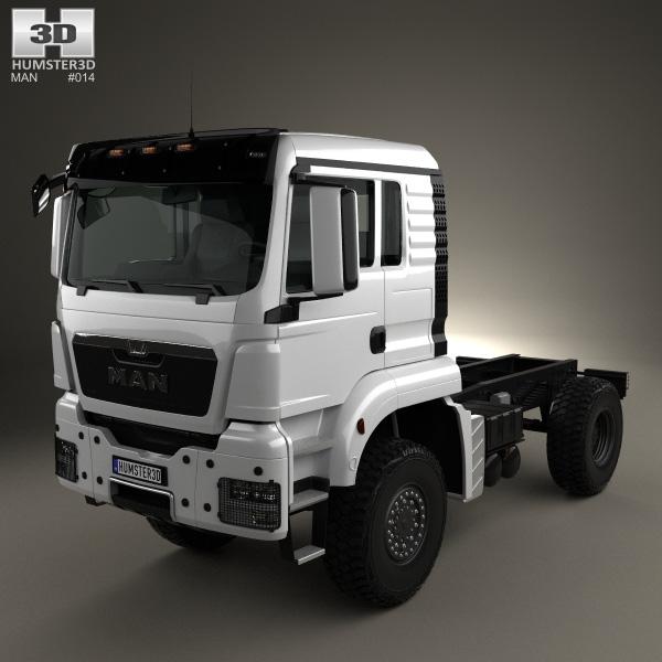 3D model of MAN TGS 4×4 L cab Tractor Truck 2007