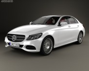 3D model of Mercedes-Benz C-Class (W205) sedan with HQ interior 2014