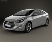 3D model of Hyundai Avante (JK) coupe with HQ interior 2014