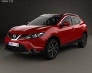 3D model of Nissan Qashqai with HQ interior and engine 2014