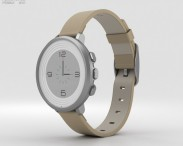 3D model of Pebble Time Round 14mm Band Silver With Stone Leather