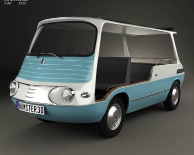 3D model of Fiat 600 Multipla Marinella 1958