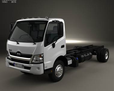 3D model of Hino 195 Chassis Truck with HQ interior 2012