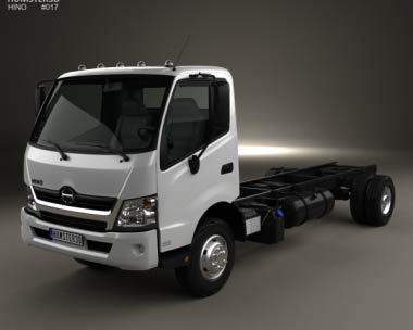 3D model of Hino 195 Chassis Truck 2012
