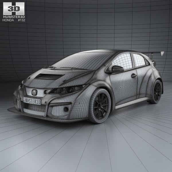 Honda civic type r tcr 2015 3d model humster3d for Honda civic 2015 model