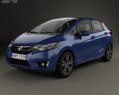 3D model of Honda Jazz with HQ interior 2014