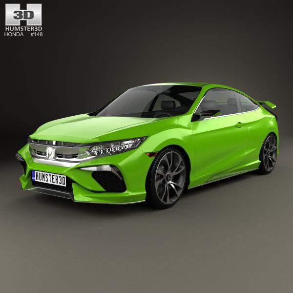 Honda civic coupe concept 2015 3d model humster3d for Honda civic 2015 model