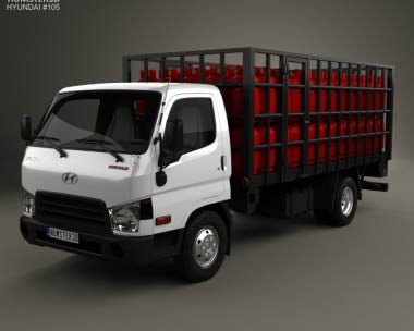 3D model of Hyundai HD65 Gas Bottle Truck 2012
