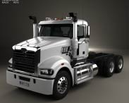 3D model of Mack Trident Axle Forward Day Cab Chassis Truck 2008