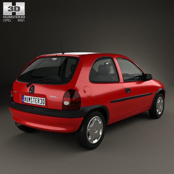 opel corsa b 3 door hatchback 1998 3d model humster3d. Black Bedroom Furniture Sets. Home Design Ideas