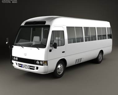 3D model of Toyota Coaster with HQ interior 2014
