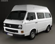 3D model of Volkswagen Transporter (T3) Passenger Van High Roof 1980