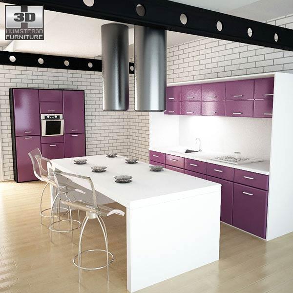 Kitchen Set I3 3D model - Humster3D on Model Kitchen Photo  id=74844